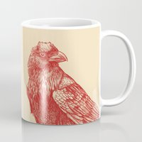raven Mugs featuring Red Raven  by Terry Fan