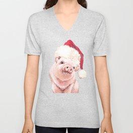 Christmas Pink Pig Unisex V-Neck