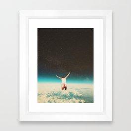 Falling with a hidden smile Framed Art Print