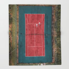 Tennis court, view of drone Throw Blanket