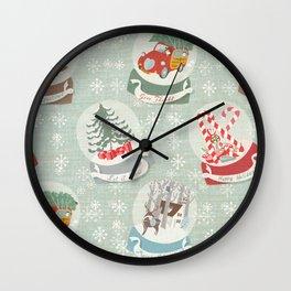 snow globes pattern Wall Clock