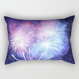 Blue and pink fireworks Rectangular Pillow