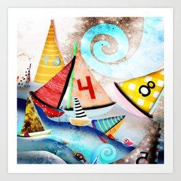 Wooden sail boat Love - Wild ocean waves Art Print
