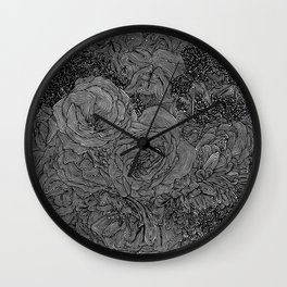 Circle Floral Line Drawing Wall Clock