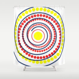 spiral in red and yellow Shower Curtain