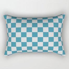 Teal and Grey Check Rectangular Pillow