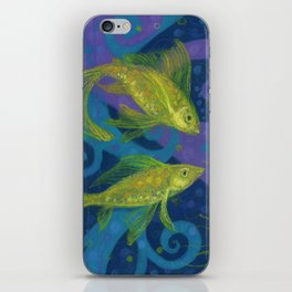Golden Fishes, Blue &Yellow iPhone Skin
