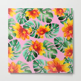 Tropical Monstera Bloom Metal Print