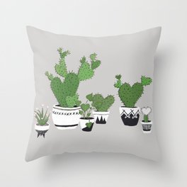 Cactus Love (in gray) Throw Pillow