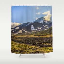 Looking at a Volcano Shower Curtain