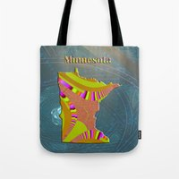 minnesota Tote Bags featuring Minnesota Map by Roger Wedegis