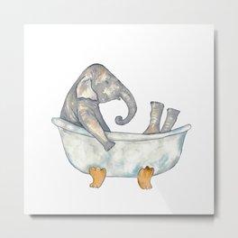 Elephant taking bath watercolor Metal Print