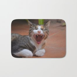 Liza the cat with a big smile Bath Mat