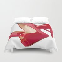 heels Duvet Covers featuring Red Heels by Luxe Glam Decor