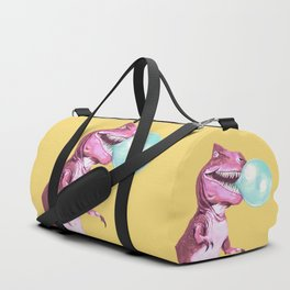 Bubble Gum Pink T-rex in Yellow Duffle Bag