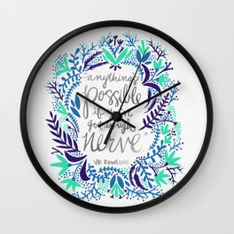 Anything's Possible – Silver & Blue Wall Clock