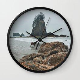 Deer on the Beach Wall Clock