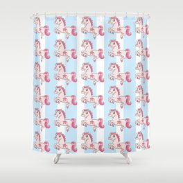 Unicorn with gold teeth Shower Curtain