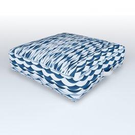 Glitch Waves - Classic Blue Outdoor Floor Cushion