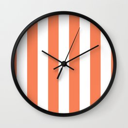 Large Basket Ball Orange and White Vertical Cabana Tent Stripes Wall Clock