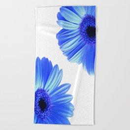 Blue Gerbera Flowers Beach Towel
