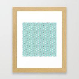 Modern teal white cute Christmas bear pattern Framed Art Print