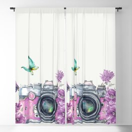 Camera with Summer Flowers 2 Blackout Curtain