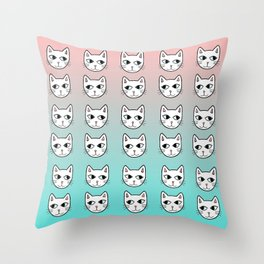 Whimsical White Cats Mint Pink Pattern Throw Pillow