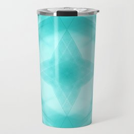 Vintage triangular strokes of intersecting sharp lines with azure triangles and a star. Travel Mug