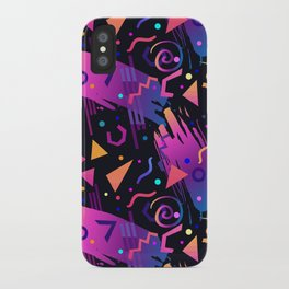 Retro vintage 80s or 90s fashion style abstract  pattern  iPhone Case