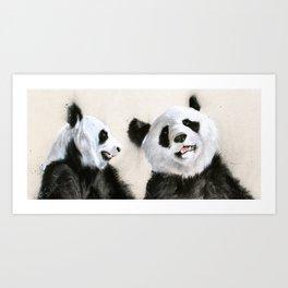 Laughing Pandas  Art Print