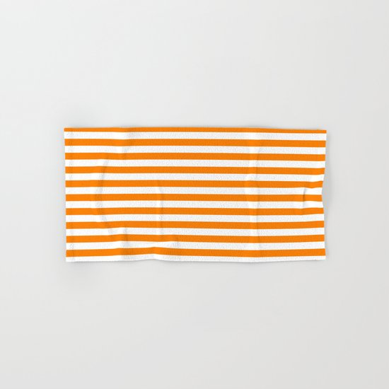 Horizontal Stripes (Orange/White) Hand & Bath Towel