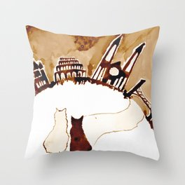 sitting and waiting for the world to fix itself Throw Pillow