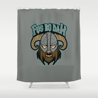 skyrim Shower Curtains featuring fus ro dah by Buby87