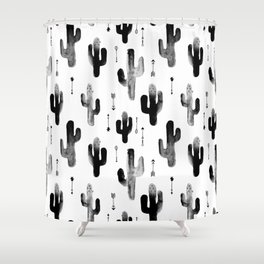 Black and white ink cactus garden indian summer Shower Curtain