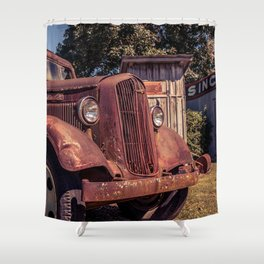 Rusting Pickup Near an Outhouse Along Route 66 in Paris Springs Missouri Shower Curtain