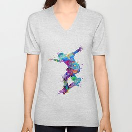 Skater Boy Art Colorful Watercolor Gift Unisex V-Neck