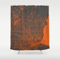 detroit Shower Curtains featuring Detroit map by Map Map Maps