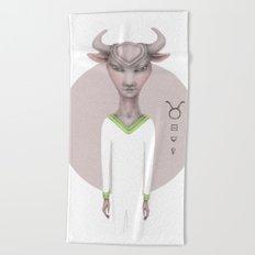 taurus astro portrait Beach Towel