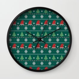 Ugly Christmas Trees Sweater Pattern Wall Clock