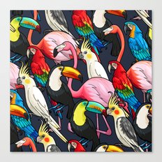 Exotic Bird Tropical Pattern Canvas Print
