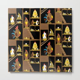 Chicken Coop - chickens, farm, illustration, birds Metal Print