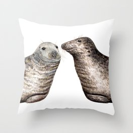 Grey seals(Halichoerus grypus) Throw Pillow