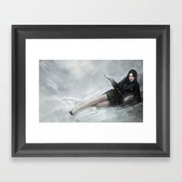 Gunslinger - Badass girl with gun in the snow Framed Art Print