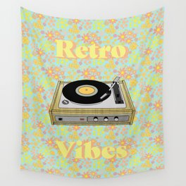 Retro Vibes Record Player Design in Yellow Wall Tapestry