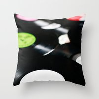 records Throw Pillows featuring Vinyl records. by vuuduu