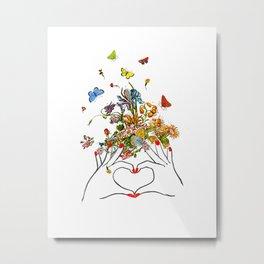 Girl Power - LOVE - print, Mixed media Decorative art, illustration,Motivational art Metal Print