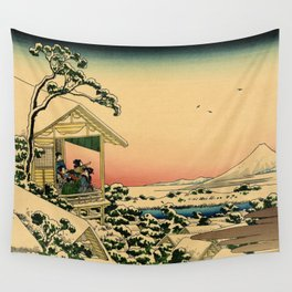 Japanese teahouse after the snow Wall Tapestry