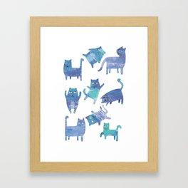 Blue Cats Framed Art Print