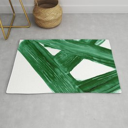 Emerald Crossroads, minimalistic emerald green and white, abstract lines, alcohol ink art, watercolor style Rug